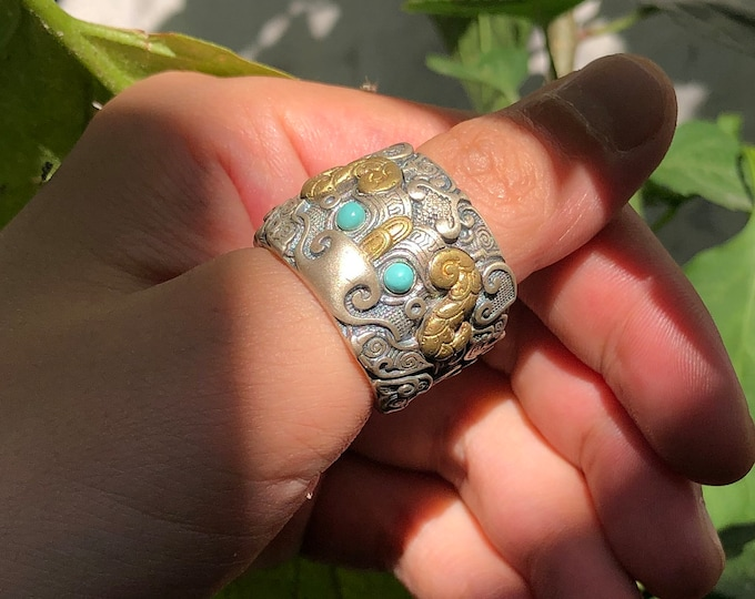 """Feng Shui ring. Protection of the taotie dragon. Silver 925, copper. Arizona Turquoise, agate called """"nan hong (red from southern Yunnan)"""