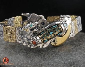 "Feng Shui bracelet protection dragon Pixiu agate sacred Tibetan ""DZI"" silver 925 turquoise copper"