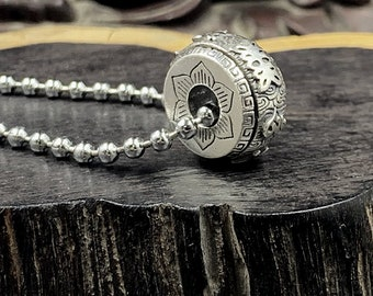 """Amulet, Buddhist protective pendant mantra of compassion turning """"om mani padme hum"""", silver 925 esoteric vajrayana tradition"""