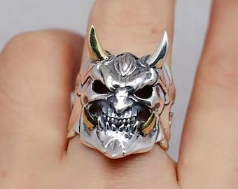 Japanese demon ring, hannya. Silver 925, copper. adjustable size, open ring. silver 925 punched. Weight of 11 grams. mixed.