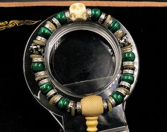 skull bracelet. yak bone, malachite, silver 925. Phurba Ritual Blade and Double Tibetan Buddhism Dorje