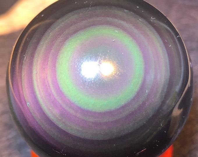 Sphere in obsidian eye celeste of a quality. 4cm diameter