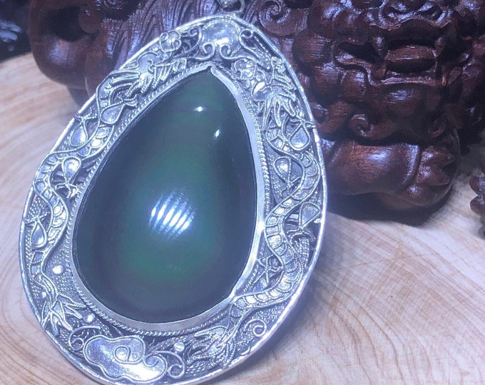 traditional pendant, Beijing jewelry. obsidian celeste eye. Double Dragon Protection. Silver 950 double-sided pendant