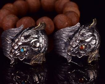 Bague poisson, carpe koi. argent 925, cuivre turquoise ou agate nan hong. Feng shui. Symbole de bravoure, persévérance, courage et d'amour