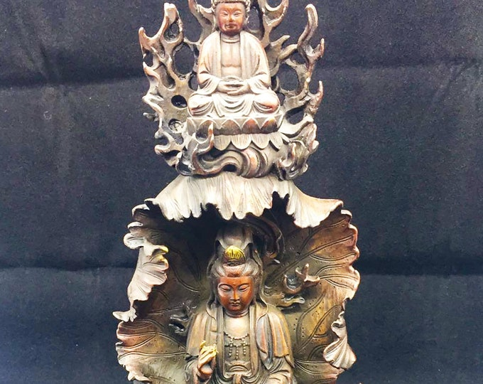 statuette bouddhiste bronze et cuivre bodhisattva Avalokistesvara, Amitabha. hauteur de 26cm