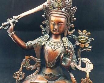 statuette bouddhiste bronze et cuivre  bodhisattva Manjushri. Hauteur de 26cm