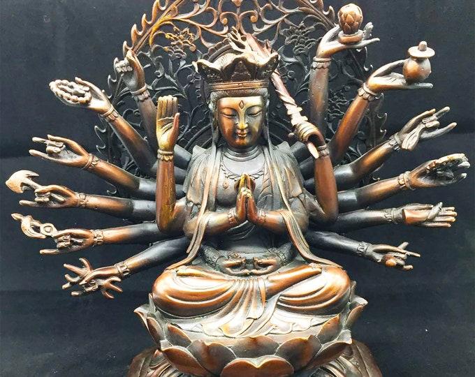 statuette bouddhiste bronze et cuivre bodhisattva Avalokitesvara