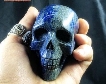 Lapis lazuli crystal skull entirely handmade single piece 7/6.5/4cm 0.399kg