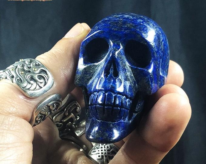 Lapis lazuli crystal skull entirely handmade single piece 5/4.5/3cm 0.182kg