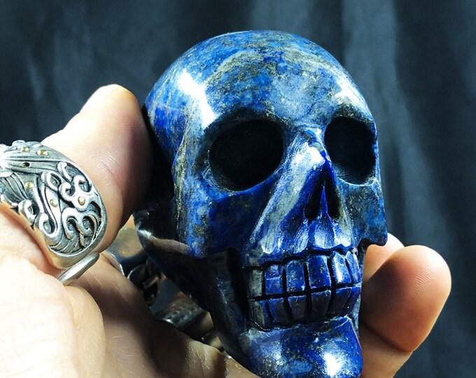 Lapis lazuli crystal skull entirely handmade single piece 6/6/4cm 0.345kg