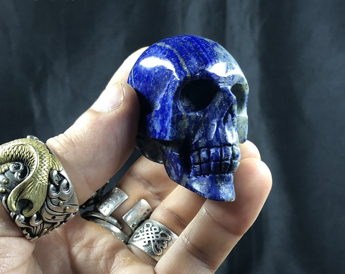 Lapis lazuli crystal skull entirely handmade single piece 5/4.5/2.5cm 0.124kg