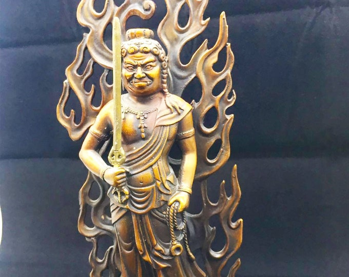 Buddhist bronze and copper statuette Buddha Acala. Shingon deity, Japanese esoteric Buddhism. Height of 30cm