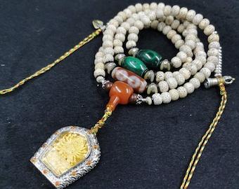 Mala, Buddhist rosary 108 pearls, bodhi seeds DZI malachite Yamatanka silver amulet 925 gold plated 18K kalachakra tantra