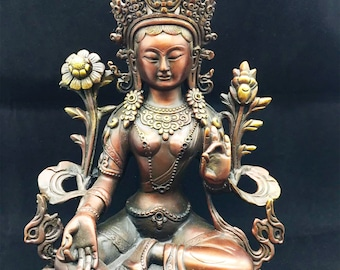 Buddhist statuette bronze and copper Deity Tara in its green form. 26 cm high
