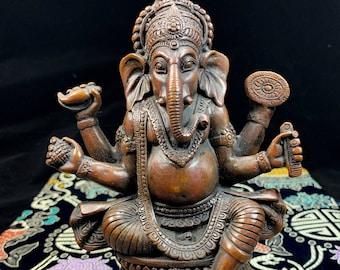 Statuette en bronze, représentation de Ganesh, Ganesha le dieu éléphant. 18/12cm poids de 0,722kg