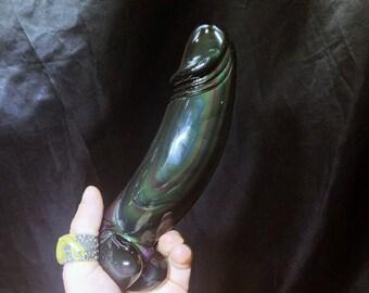 Phallus en obsidienne oeil celeste. Entièrement sculpté à la main. Pièce unique Obsidienne de qualité A+  21cm de long et 5,41cm de diamètre