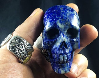 Lapis lazuli crystal skull entirely handmade single piece 6/4.5/3cm 0.185kg
