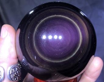 Large sphere in obsidian eye celeste quality A. 0.787 kg 8.91 cm in diameter 28cm in circumference
