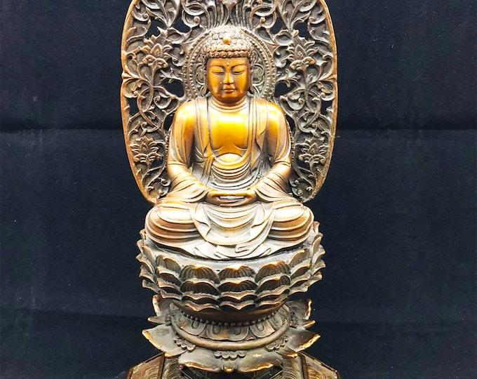 statuette bouddhiste bronze et cuivre bouddha Amitabha. 25cm de hauteur