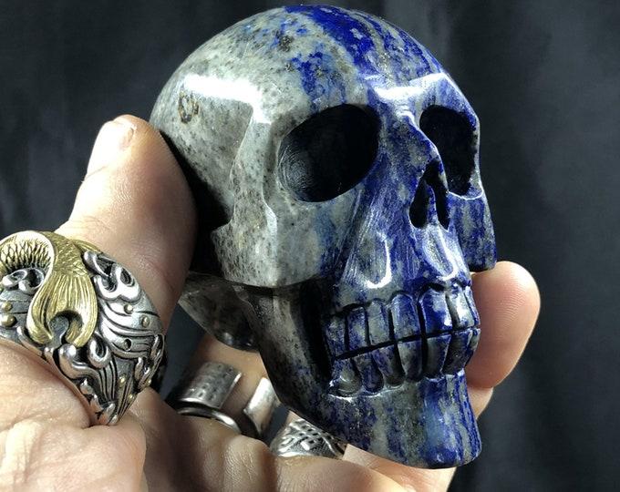 Lapis lazuli crystal skull entirely handmade single piece 7/6/4cm 0.371kg