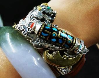 "Feng Shui dragon protection bracelet Pixiu agate sacred Tibetan ""DZI"" silver leather 925 turquoise copper"
