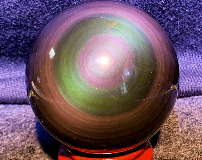 obsidian eye sphere of exceptional quality, rare collector's item. 0.362 kg 22.30cm in circumference 7.10cm in diameter
