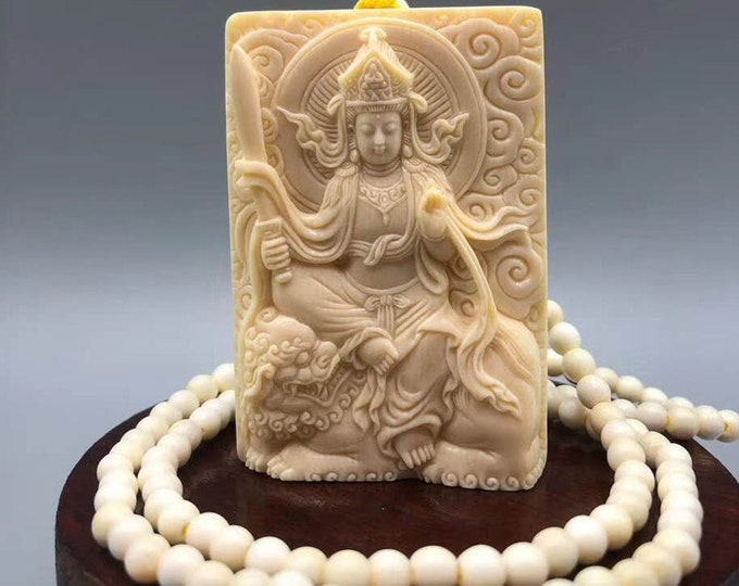 Mala Buddhist string mammoth ivory boddhisattva of knowledge Manjushri sold with certificate of authenticity Unique piece