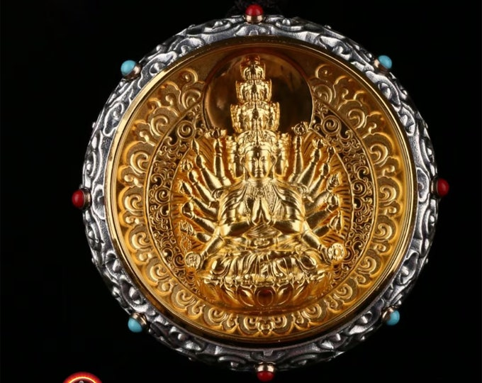 amulette de protection bouddhiste, Bouddha Chenrezi en argent massif 925, plaqué or 18k turquoise, agate nan hong. mantra tournant au verso
