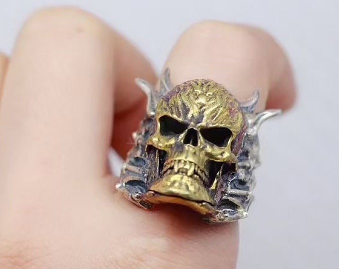 skull ring, skull, skull, pirate. Silver 925 and copper. Silver Punched. Open ring adjustable to all finger sizes. mixed