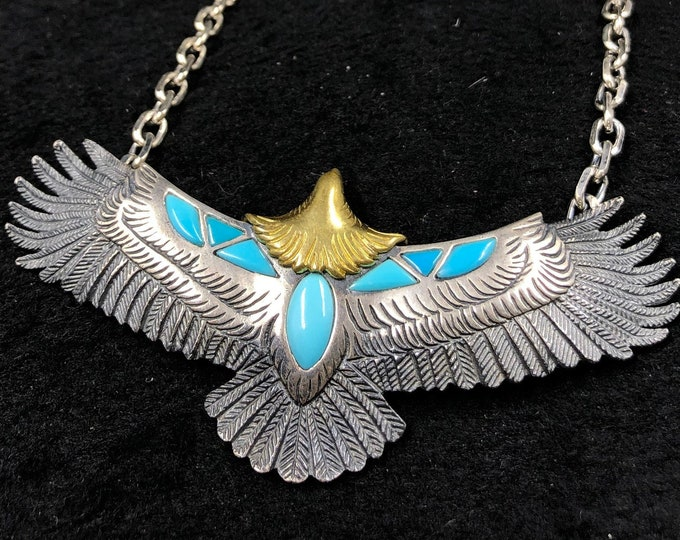 Shamanic pendant. eagle. Silver 925, copper, Arizona turquoise