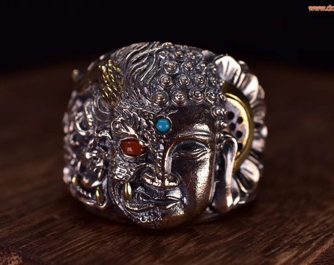 Buddhist ring One thought becomes Buddha, One thought becomes combat. silver 925 turquoise copper of Arizona agate called nan hong of Yunnan
