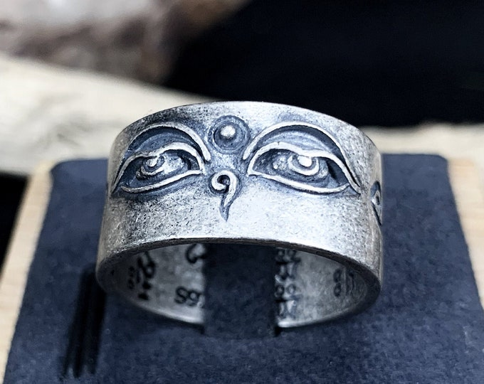 Buddhist ring. Buddha's eyes. Silver 925. sterling silver punched. open ring, adjustable. 10 grams of silver.
