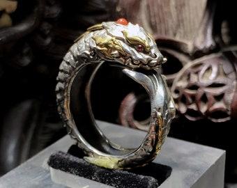 Aoyu dragon ring. Feng shui protection. Silver 950, copper, rubies, agate nan hong. high-quality artisan jewellery.