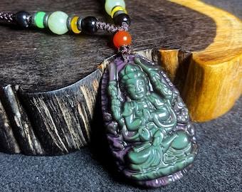 Pendentif, bouddha, Guan Yin, Chenrezi. Amulette bouddhiste en obsidienne oeil celeste. obsidienne naturelle du mexique. Cordon, jade.