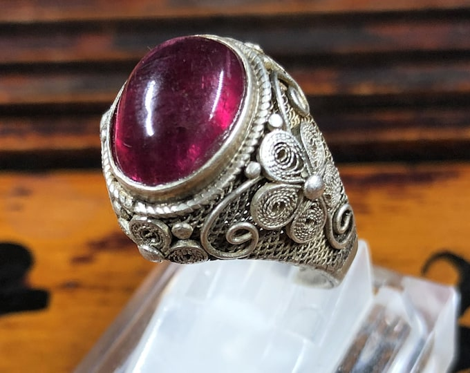Silver ring 925 watermark. Tourmaline rubellite . Traditional Beijing jewelry. One-of-a-kind