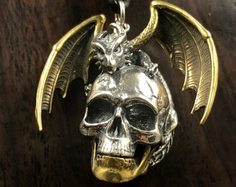 skull and dragon pendant. Silver 925 and copper.