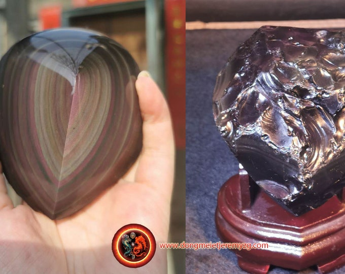 free form in obsidian celeste eye. Semi raw. A polished face, a rough face 101/82/70 mm 0.558 kg.