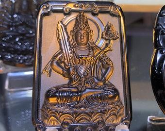 amulette pendentif bouddhiste, bodhisattva Manjushri (connaissance) obsidienne glace.
