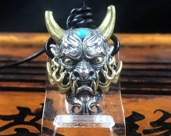 protective pendant, Hannya demon Japanese. mounts on leather cord. Silver 925, copper, tsavorite garnet, turquoise