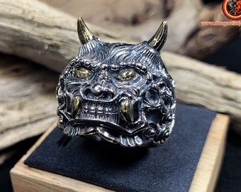 925 silver ring. Japanese demon ring. Mr. Yokai. silver 925, copper. Several sizes available.
