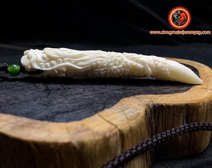 dragon pendant. Dragon claw. Bone dragon. Buffalo bone. cord with nephritis jade. Claw size: 90mm/ 13mm/ 12.29