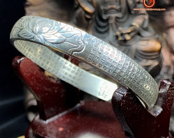 999 Silver Buddhist rush bracelet (punched Ag999) mantra of great compassion on the outside, sutra of the heart engraved on the inside