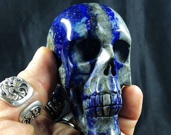 Lapis lazuli crystal skull entirely handmade single piece 7/7/3.5cm 0.422kg