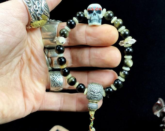 Skull bracelet, golden obsidian, handcrafted deer wood sculpted skull, silver 925, Buddhist phurba finished