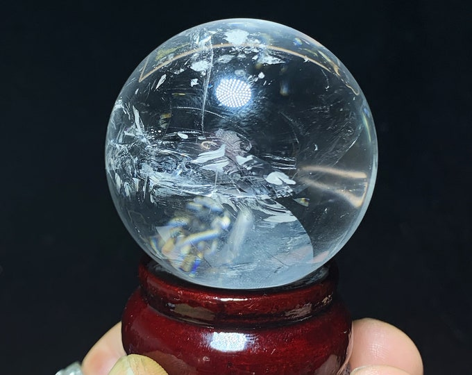 Sphere, crystal ball. Rock Crystal of Brazil, excellent quality. Beautiful frosts in inclusions. Natural rock crystal. 0.148kg