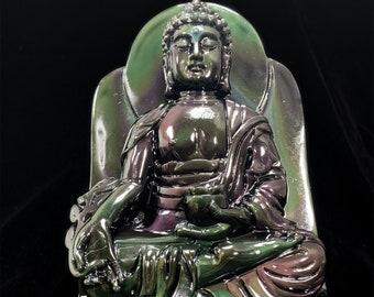 statue bouddhiste exceptionnelle et unique. Bouddha medecine, Bhaishajyaguru. obsidienne oeil celeste de haute qualité. Socle en palissandre