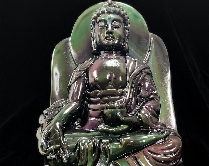 exceptional and unique Buddhist statue. Medicine Buddha, Bhaishajyaguru. obsidian eye celeste of high quality. Rosewood base