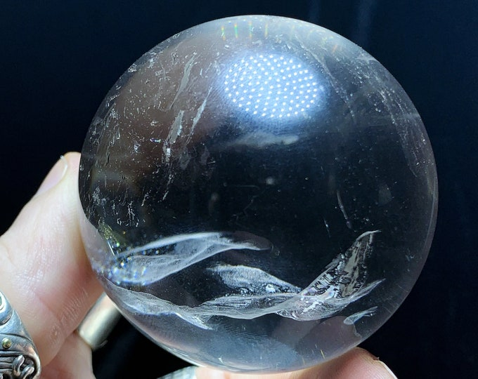 Sphere, crystal ball. Rock Crystal of Brazil, excellent quality. Beautiful frosts in inclusions. Natural rock crystal. 0.344kg