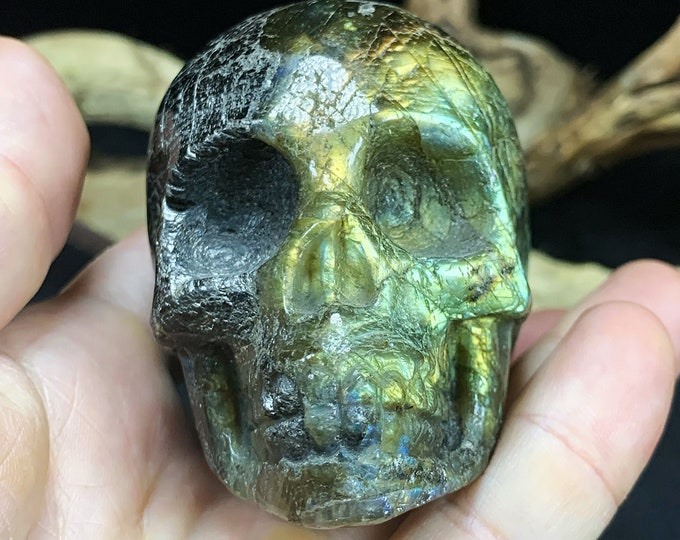 crystal skull. labradorite skull. Labradorite, from madagascar. Unique and artisanal piece. death's head. Crystal skull