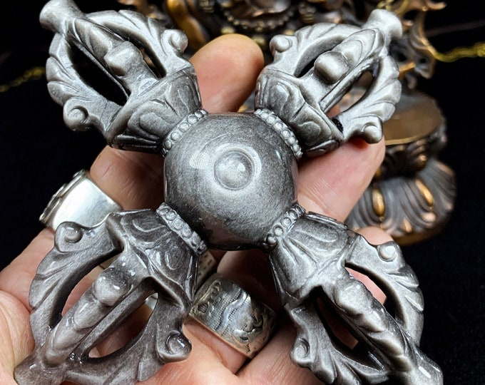 Vajra, dorje, ritual object, esoteric Buddhism, tantric, Tibetan Buddhism, Japanese Buddhism. silver obsidian. Handcrafted piece